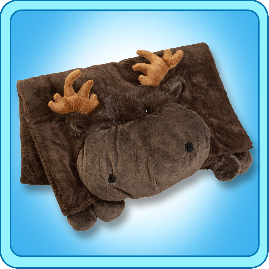 Animal Pillow Blanket : Authentic Pillow Pet Chocolate Moose Blanket Plush Toy Gift eBay