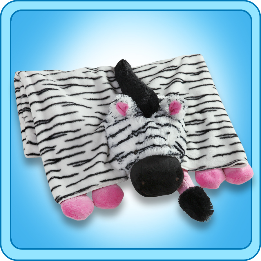 Authentic Pillow Pet Zippity Zebra Pink/White Blanket Plush Toy Gift