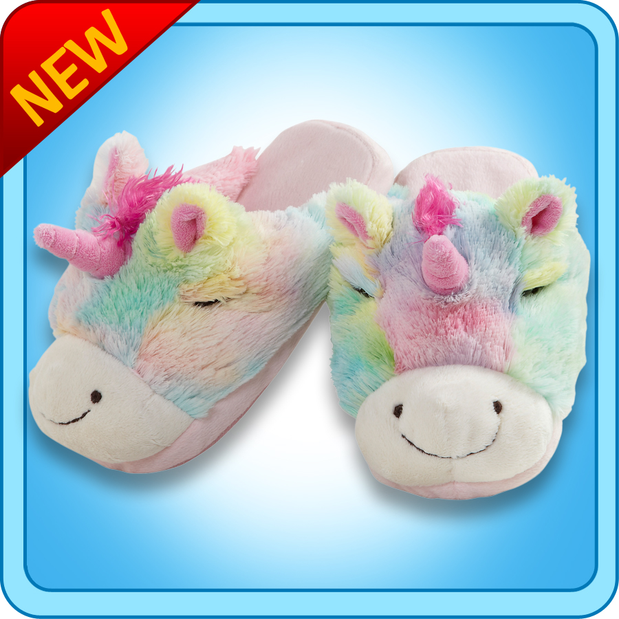 Pillow Pets Authentic Rainbow Unicorn Slippers Toy Gift ...